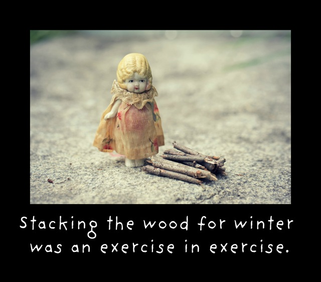 Claudia and the woodpile exercising