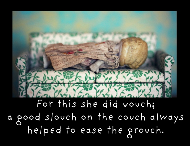 couch Claudia framed card grouch couch slouch crop