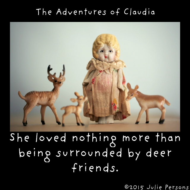 Claudia surrounded deer friends instagram