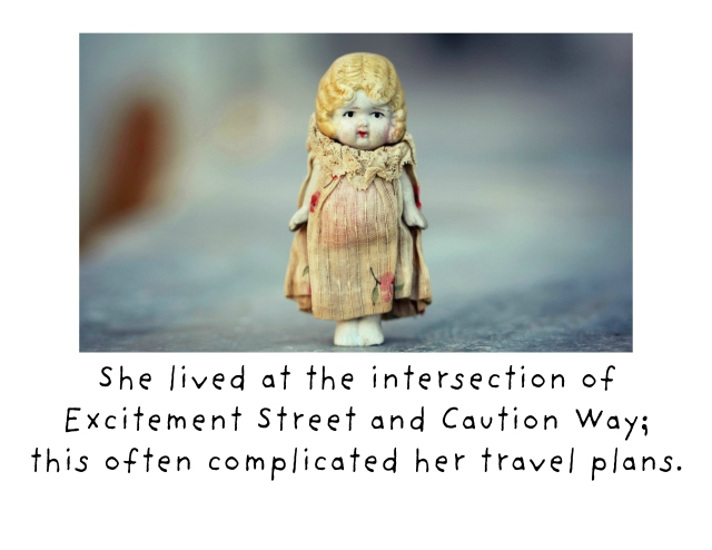 She lived at the intersectio card crop of Excitement Street and Caution Way. This often complicated her travel plans. card crop WHITE