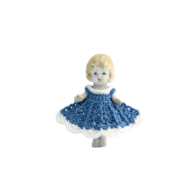 Claudia blue dress isolated front view